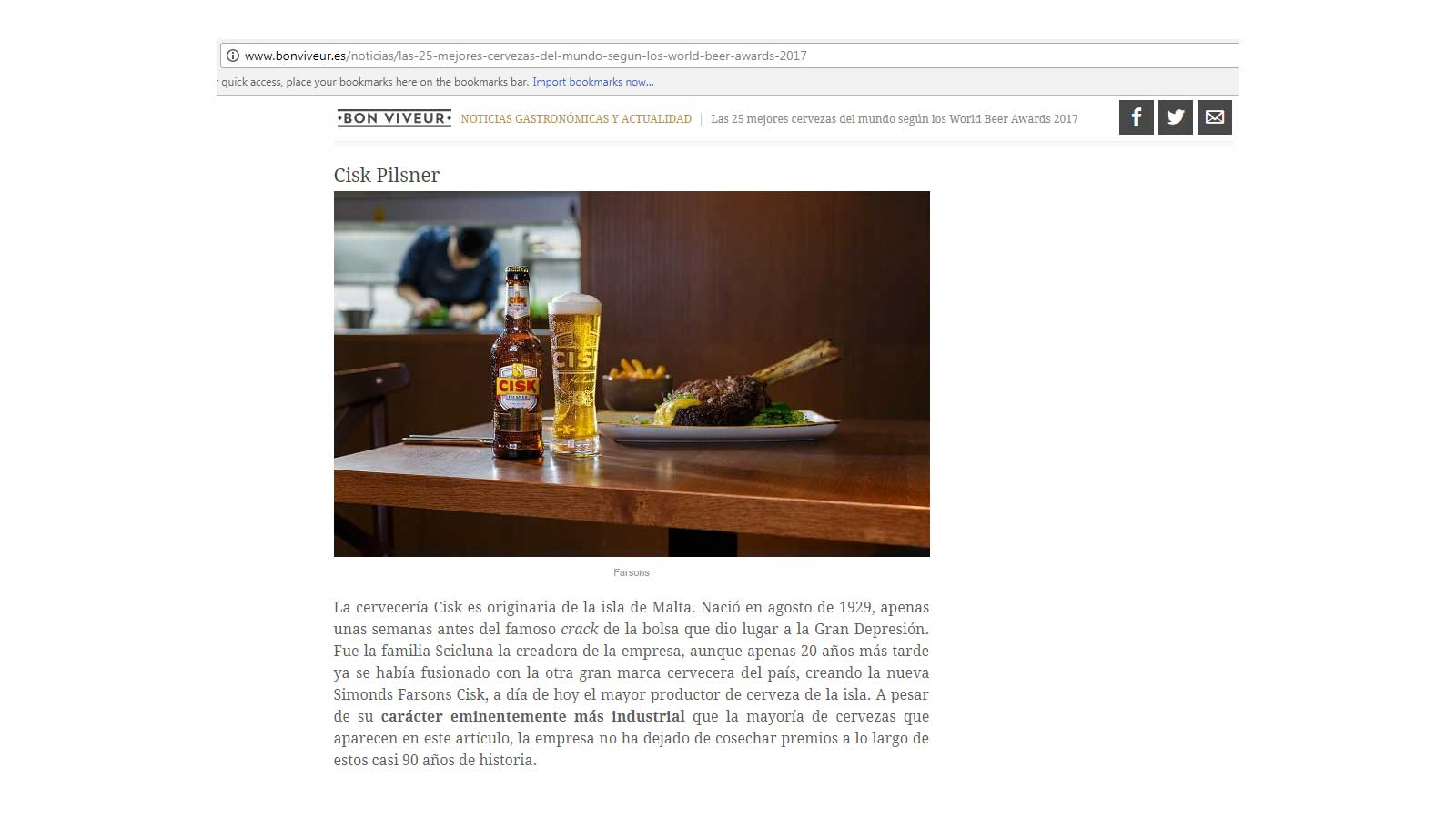 Cisk Pilsner featured on Spanish list of 'Best beers in the world'