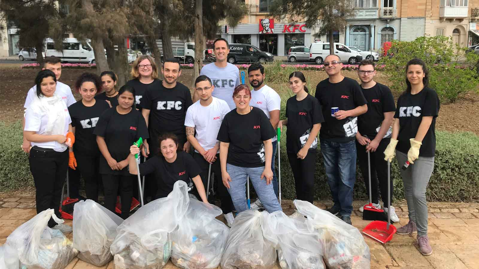 KFC Malta team clean up the neighbourhood