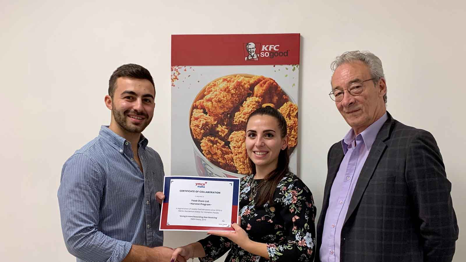 YMCA homeless shelter Dar Niki Cassar supported by KFC